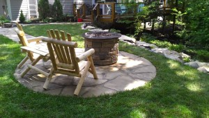 outdoor living space firepit
