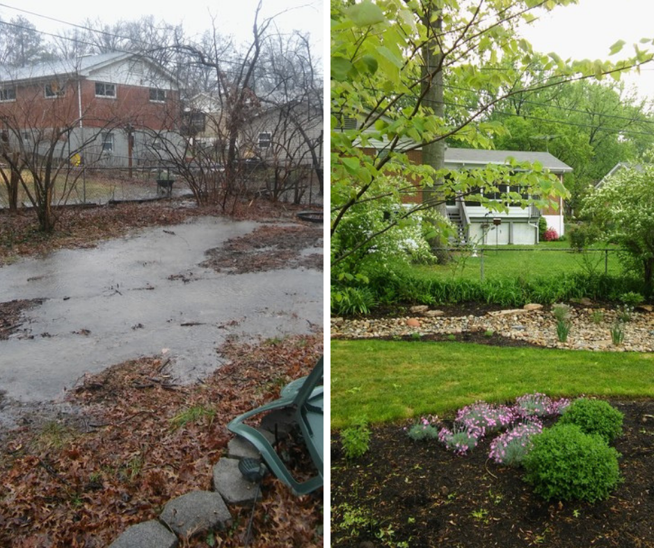 rainscaping design before and after transformation