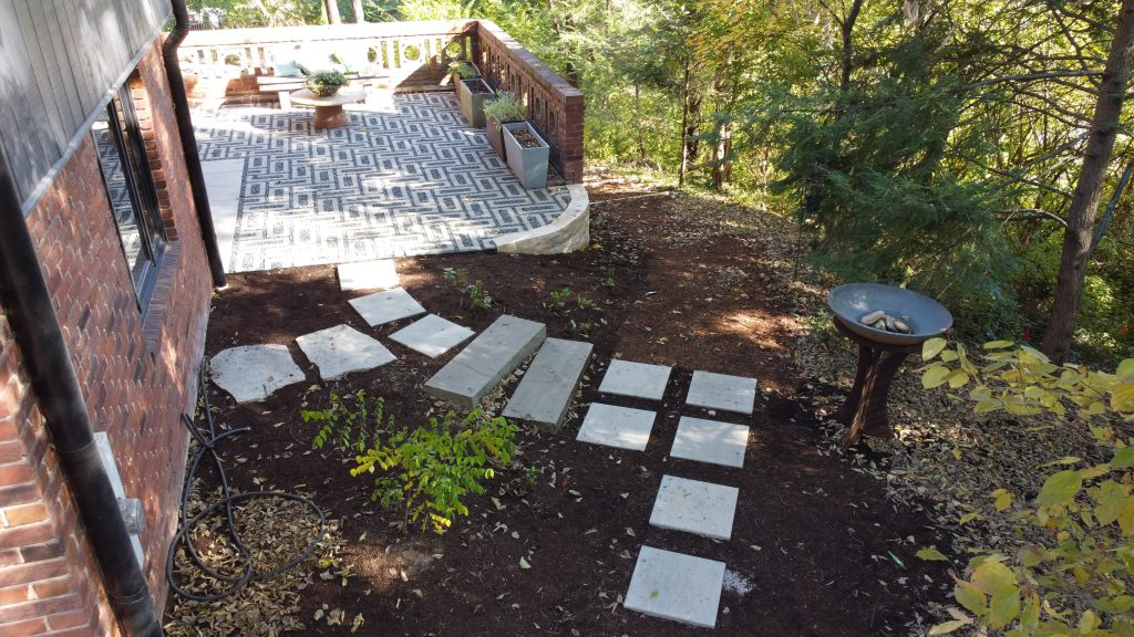paver walkway and patio design build hardscaping in St. Louis by Quiet Village