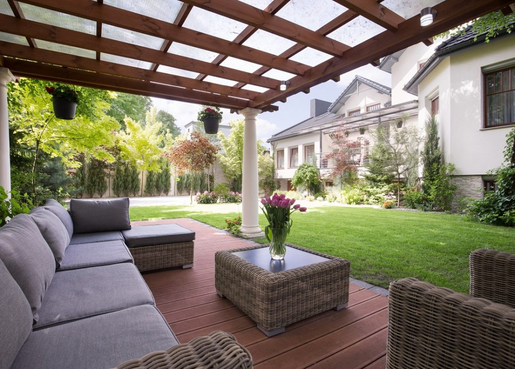 Pergola Outside with Plantings